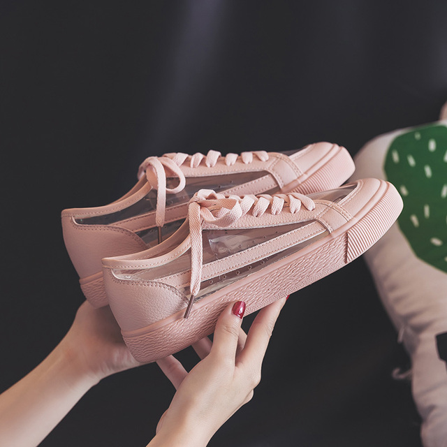 e7520b226401 Women Summer Sneakers Pink Solid Color Female Shoes Transparent Lace Up 2018  New Trending Style Casual Shoes Flats Size 35-40