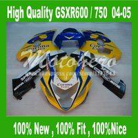 Kits del carenado Amarillo corona para SUZUKI GSXR600 GSXR 600 K4 04 05 GSXR 750 K4 2004 2005 GSX-R600 GSX-R750 04 05 carenados