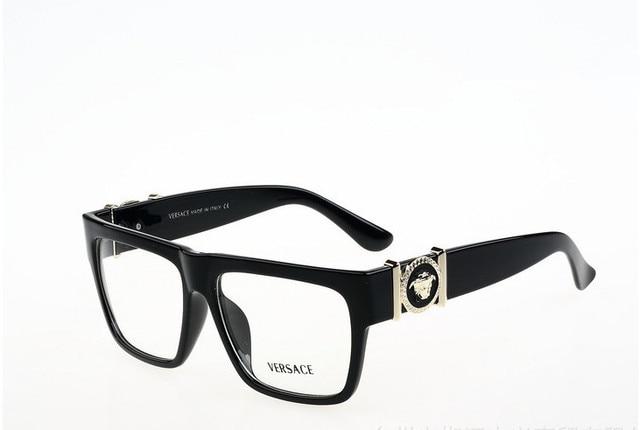 2015 New flat top square optical frames men brand metal gold logo ...