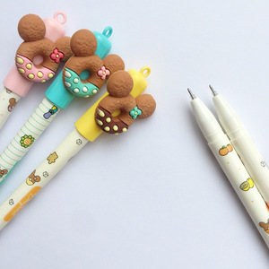 Image 3 - 30 pcs Cute bear gel pen Donuts cookie 0.5mm roller ball Blue color pens Stationery Office school supplies Canetas escolar A6440