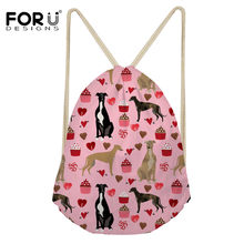 FORUDESIGNS Greyhound Dog Pet Pattern Drawstring Bag Travel Women Small Storage Backpack Kawaii 3D Printing Christmas Gift Pouch(China)