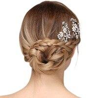 2 Stks Trendy Elegante Bruid Vrouwen Zilveren Kleur Strass Bloemen Faux Parels Haar Stok Haar Pin Prom Bruids Haar Accessoire