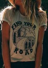 2019 kobiet T-Shirt lato z krótkim rękawem znajdź swoją drogę drukuj O-Neck T-Shirt kobiet dorywczo t shirt modne oświetlenie Khaki topy Tee tanie tanio FAIRY SEASON Poliester NONE Tees List REGULAR Suknem Kobiety Na co dzień