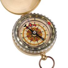 Outdoor Camping Hiking Portable Brass Pocket Golden Double Display Compass Navigation WY01