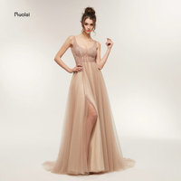 Vestido de Festa Stunning Evening Dresses Long 2018 Sexy Party Dresses V Neck Elegant Prom Dresses Front Split Open Back