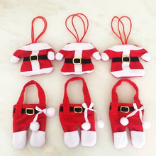 Christmas Decorations 6 Pcs Santa Silverware Holders