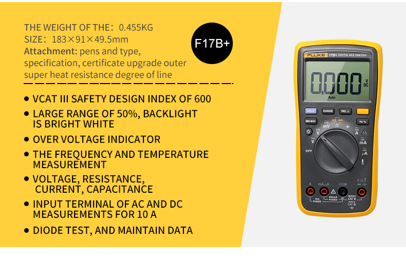 Image 2 - FLUKE 17B+ Digital multimeter AC/DC Voltage Current Capacitance Ohm Temperature tester Auto/Manual Range Measurement-in Multimeters from Tools