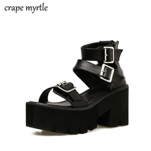 Summer Fashion Women Sandals High Thick Heel Open Toe Buckle Strap Platform Shoes Female Black Simple Design Unique Shoes YMA259 women faux suede buckle strap platform thick high heel sandals fashion party cover heel print knot bow women shoes black