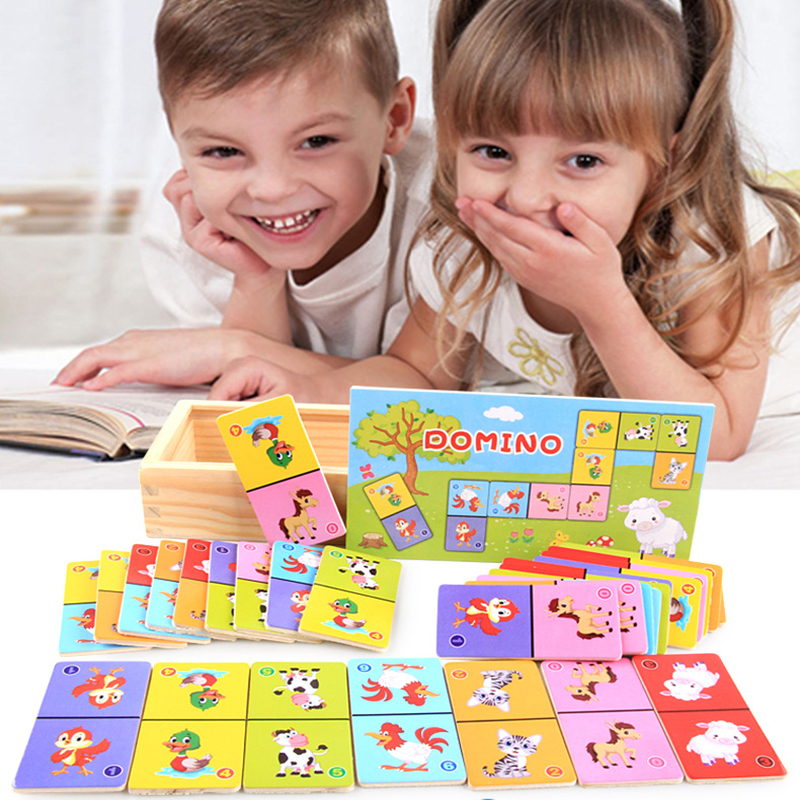 Children Wooden Block Board Game Wooden Domino Solitaire Early Animal Learning Education Toys For Children Colorful Block
