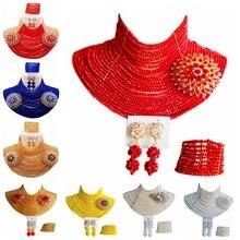 Aczuv Для женщин мода нигерийские Свадебные африканские Бусины комплект ювелирных изделий Кристалл 25c-001
