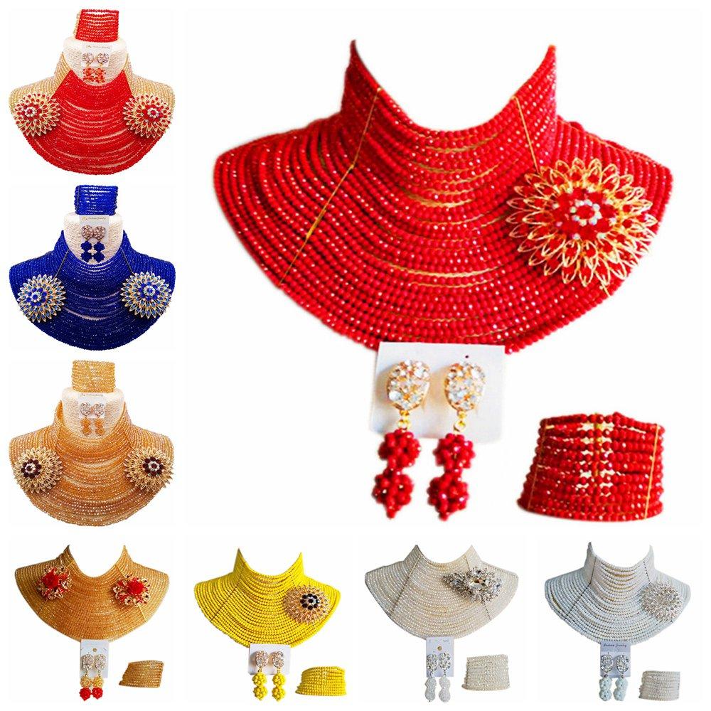 ACZUV Women Fashion Nigerian Wedding African Beads Jewelry Set Crystal 25C-001ACZUV Women Fashion Nigerian Wedding African Beads Jewelry Set Crystal 25C-001