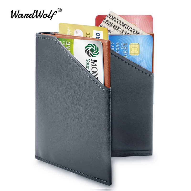 WardWolf Men Thin Wallet Purse Slim Genuine Cow Leather Small Billfold  Wallet for Men Male RFID Blocking Mini Wallet Card Holder
