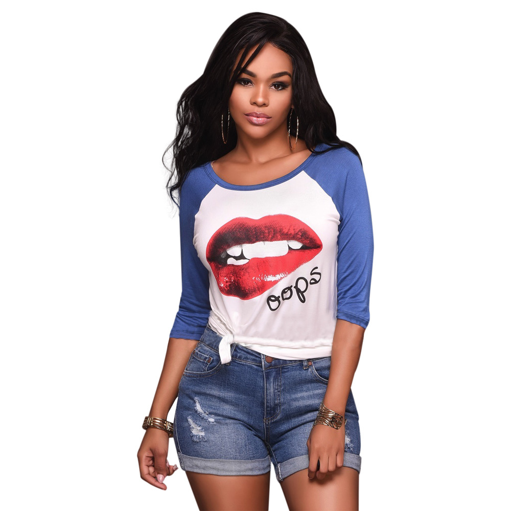 Desain t shirt elegan - Desain Kreatif Dicetak T Shirt Wanita Marilyn Monroe Sexy Bibir Merah Pola Grafis Tee Wanita