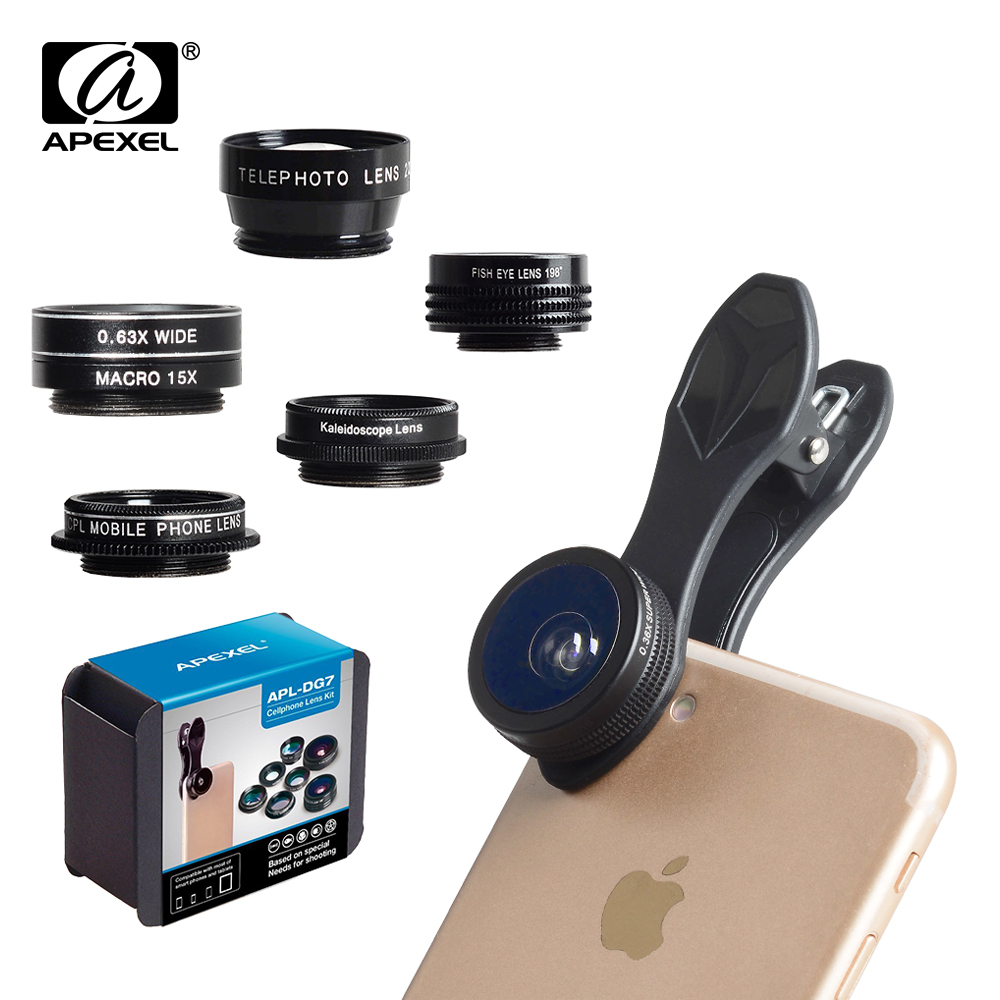 APEXEL Phone Camera Lens Kit Fish Eye Wide Angle/macro Lens CPL Kaleidoscope and 2X telephoto zoom Lens 7in1 for iPhone SAMSUNG 14