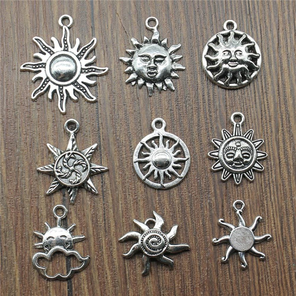 20pcs Sun Pendant Charms Antique Silver Color Sun Charms Jewelry DIY Sun Charms For Bracelet Making
