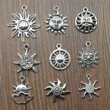 20 pçs / lote pingente de sol pingente de cor prata antiga joias enfeites de sol DIY para fazer pulseiras