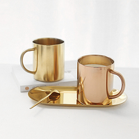 Scandinavian design 304 stainless steel mug Gold coated copper coffee cup Milk cup Anti hot cup
