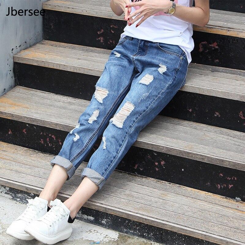 Jbersee Women Loose Plus Size Ripped Jeans Woman Boyfriend Jeans for Women Female Casual Hole Denim Pants YZ2096