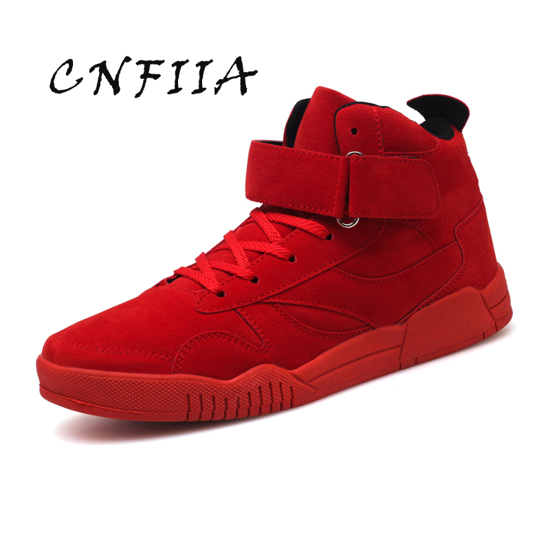CNFIIA Mens Shoes Male Casual Shoes Cheap High Top Fashion Red Black Gray 2018 Autumn New Winter Man Sneakers Lace Up Footwear 2018 new casual leather sneakers red black lace up comfortable footwear women sneakers shoes 6 5cm