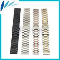 Stainless Steel Watch Band 20mm 22mm For MK Butterfly Clasp Strap Wrist Loop Belt Bracelet Black
