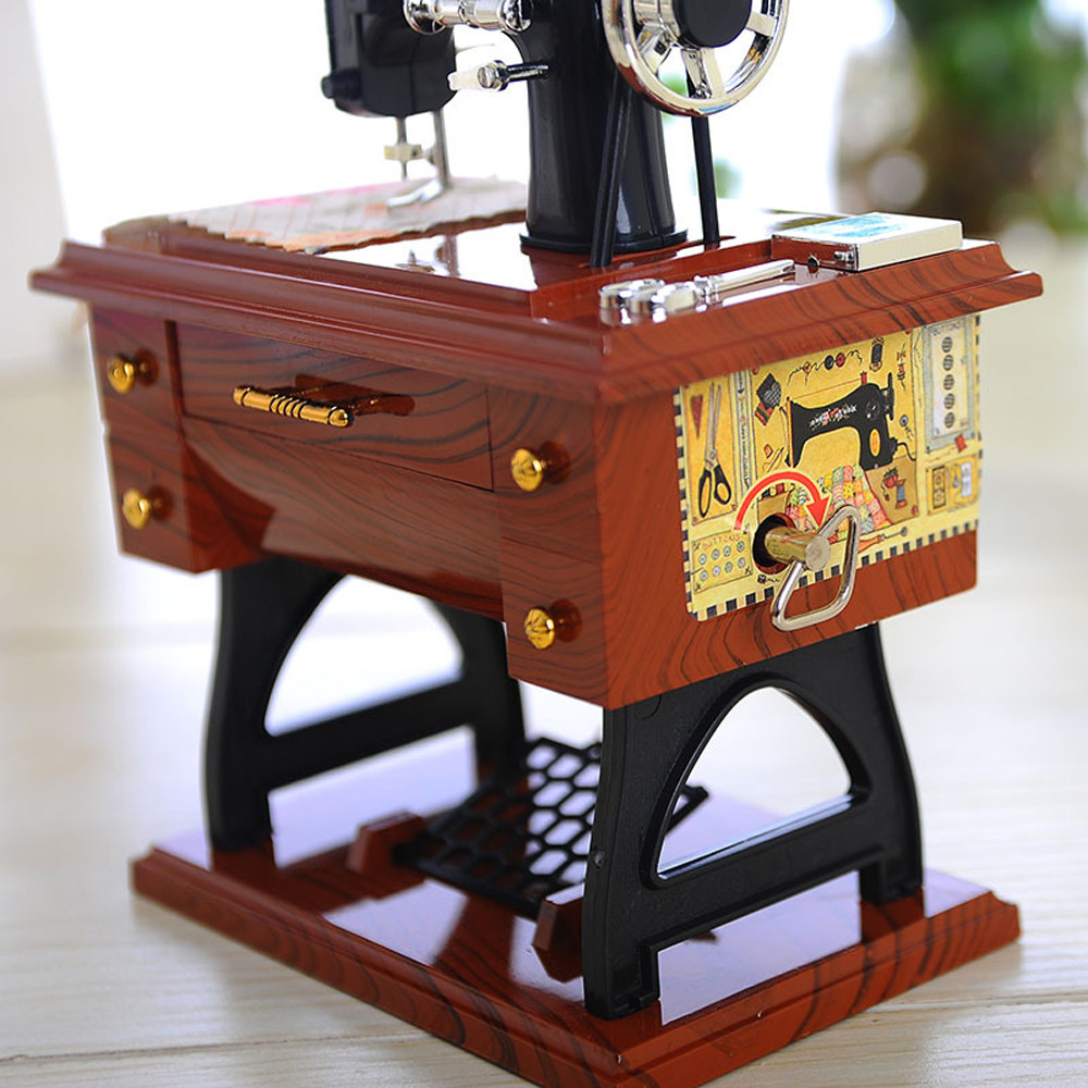Vintage Music Box Mini Sewing Machine Style Christmas Gift Xmas Party Home Decor