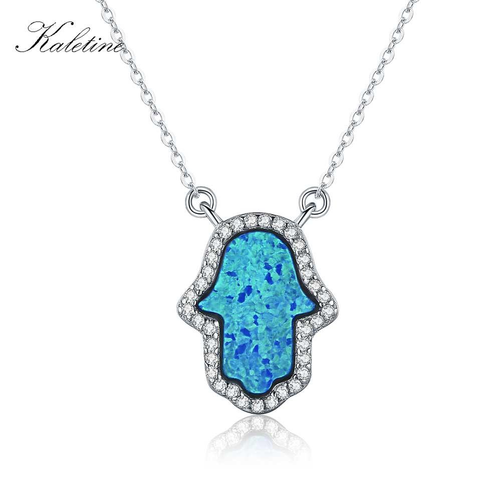 Sintetička Opal Hamsa ruka Fatima šarm Pravi 925 Sterling Silver Privjesak Ogrlica Nakit duge ogrlice lanca KLTN022