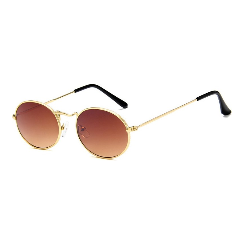 f17a3dff13 ... Classic Oval Vintage Women Round Sunglasses For Men Brand Designers  2018 Gold Black Retro Metal Frame