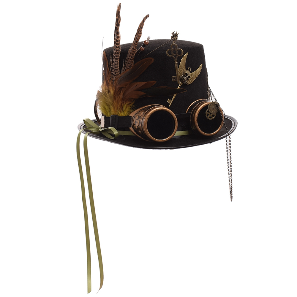 Ladies Black Feather Women Fedoras Steampunk Gears Men Top Hat With Googles