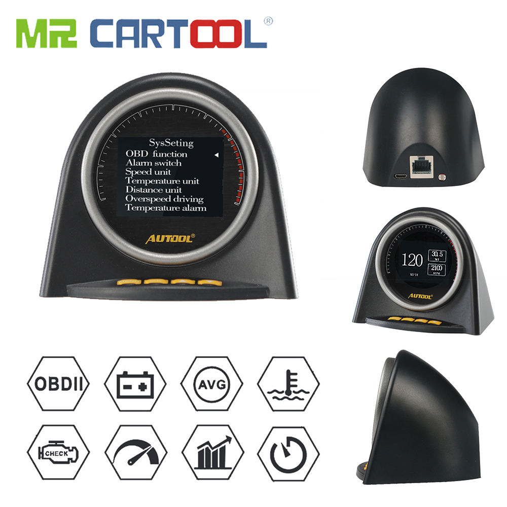 M. Cartool X70 Voiture HUD Automobile Headup Affichage Auto OBDII 2 Head up Display Compteur Complet ODB2 Protocoles