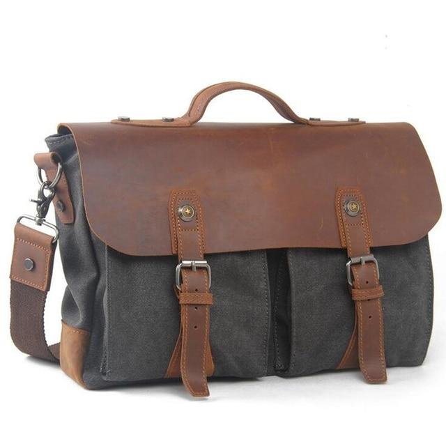 Designer Brand Man's casual Vintage Canvas Leather bags Men's Crossbody Bag Men Shoulder Messenger Bag Briefcase MU-1968