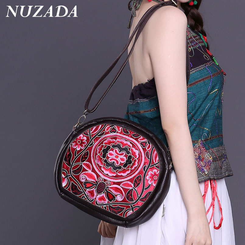 Brands NUZADA Women Ladies Hand bag Handbags Tote Satchel Shoulder Messenger Crossbody Bags Genuine Leather embroidery