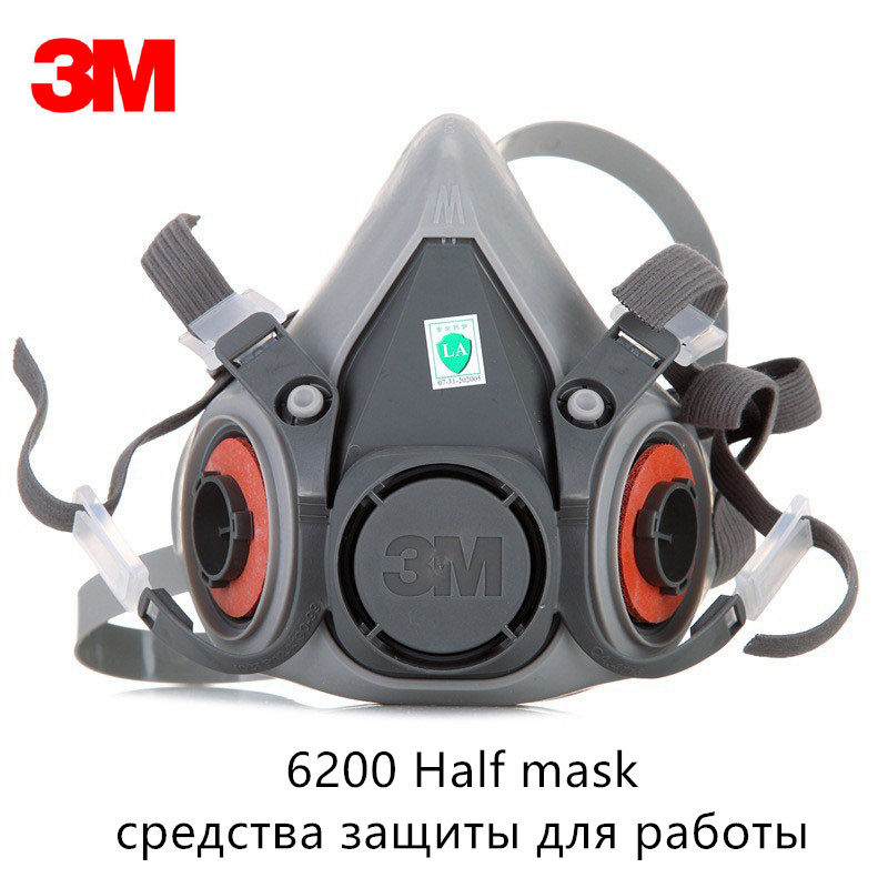 3M 6200 Facepiece Gas Dust Mask Painting Spraying Chemical Low-Maintenance Respirator Reusable Protective Industry Filter Mask