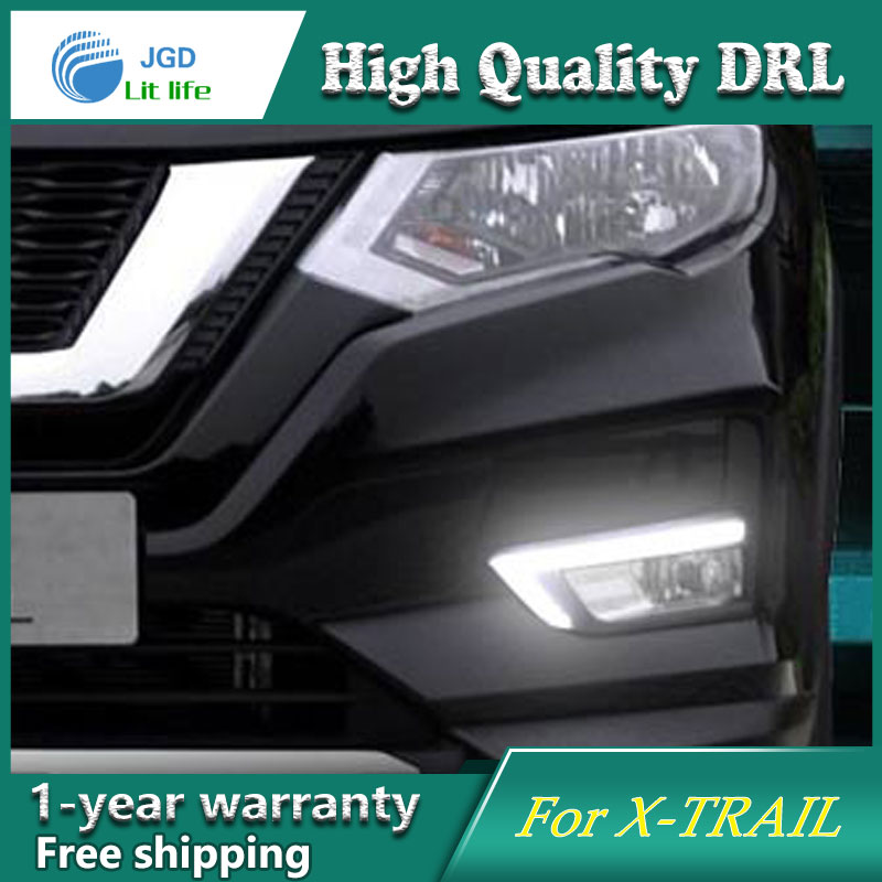 Free shipping !12V 6000k LED DRL Daytime running light case for Nissan X-Trail 2016 2017 fog lamp frame Fog light Car styling free shipping 12v 6000k led drl daytime running light case for subaru wrx 2015 2016 fog lamp frame fog light car styling