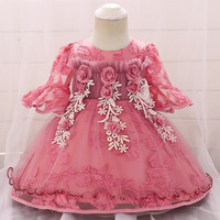 2019 New Floral Newborn Baby Ball Gowns 1st First Birthday Christening Gowns Flare Sleeve Tutu Wedding Gowns Spring Girl Clothes