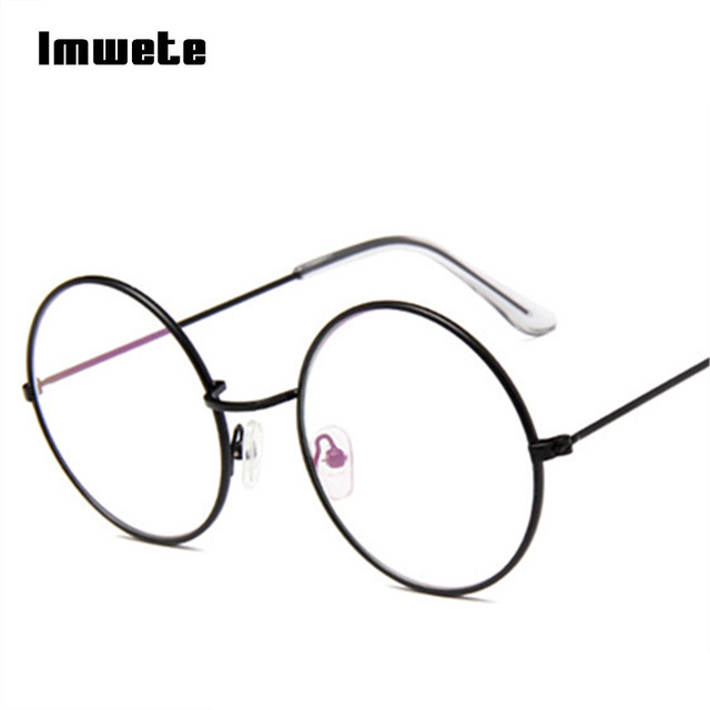 Imwete Vintage Round Glasses Frame Transparent Optical Metal For ...