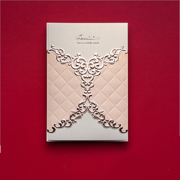 Red and gold luxury wedding invitations