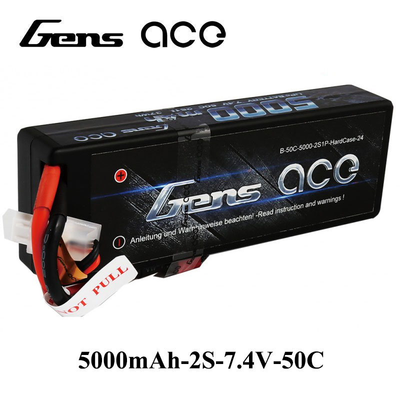 Gens ace <font><b>Lipo</b></font> Battery <font><b>2S</b></font> <font><b>5000mAh</b></font> <font><b>Lipo</b></font> 7.4V Battery Pack Tplug 50C for 1/8 1/10 RC Car Model Helicopter RC Boat High Discharge image