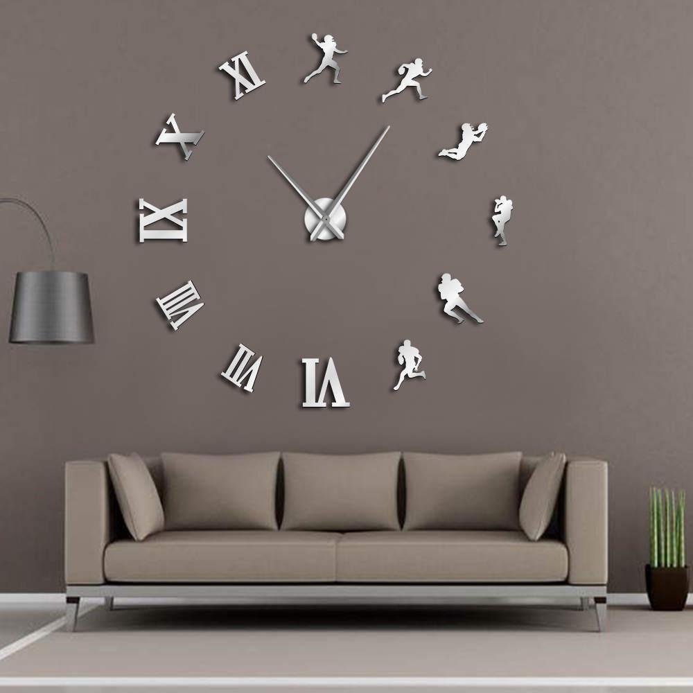 Living Room Large Art Design 3d Diy Eva Hanging Wall Clock Mirror