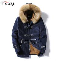 HCXY Jaqueta Masculina Thick Men Down Jacket Male Deer Skin Leather Couple Hooded Winter Jackets And