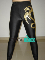 ZentaiHero Custom Size Lycra Spandex Dress Up Fancy Pants Sexy Dragon Pattern Black Wrestling Pants Fantasia