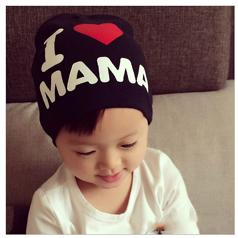 Spring Autumn Winter Baby Beanie Hat  kids hip-hop Skull bonnet  Children Boys Girls Knitted I Love Papa Mama Caps fit 1-3 year