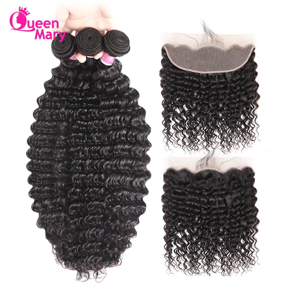 Queen Mary Peruvian Deep Wave Bundles With Frontal Closure Lace Frontal Closure With Bundles 3 Bundles With Closure Non Remy