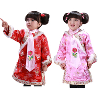 Brocade Girl Children New Year Clothes Chinese Traditional Embroidery Tang Suit Cheongsam Spring Festive Princess Dress+Necktie