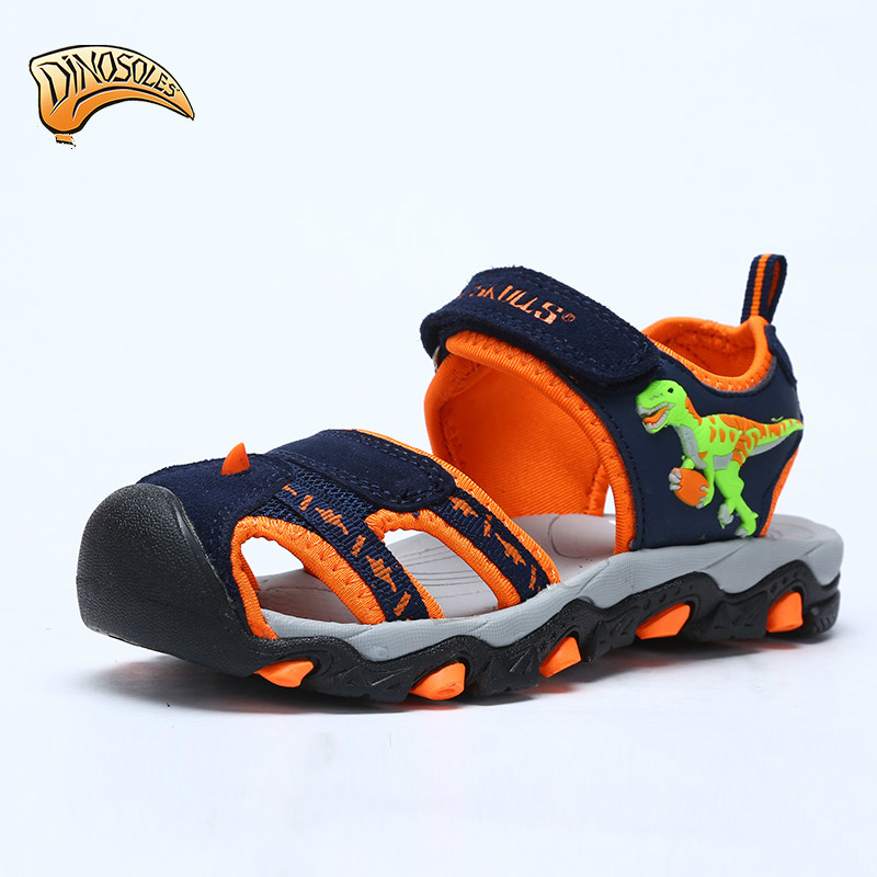 2018 Summer Beach Kids Shoes Boys Sandals Summer New Style Dinosaur Flashing Breathable Flats Shoes