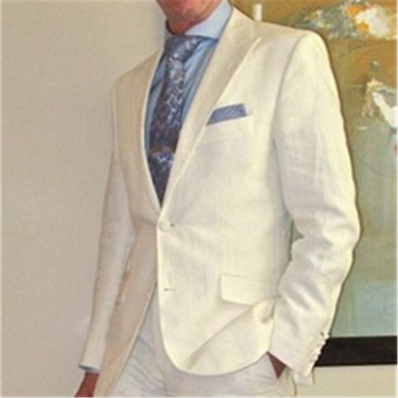 Handsome Grandpa Style Ivory White Men Suit 2 Pieces(Jacket+Pants+Tie) Casual Summer Stylish Prom Slim Fit Blazer For Men 004