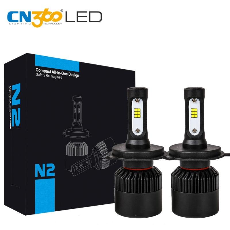 CN360 2PCS H4 9003 HB2 LED CSP Chip Super Long Lifespan Smaller Size 8000LM Auto Headlamp DRL Fog Lamp Conversion Lamp Kit 12V