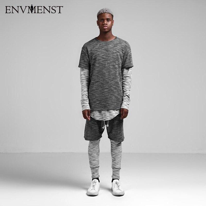 Envmenst Newest High Street Style Men's 2 Sets EUR Hip Hop Top Tees Fashion Skateboard Dress Hit Color Snowflake