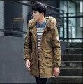 2016 Homens Pato Branco Para Baixo Jaqueta de Inverno Da Marca de Moda cabelos longos espessamento jaqueta com capuz Roupas casaco dos homens Livres do Transporte