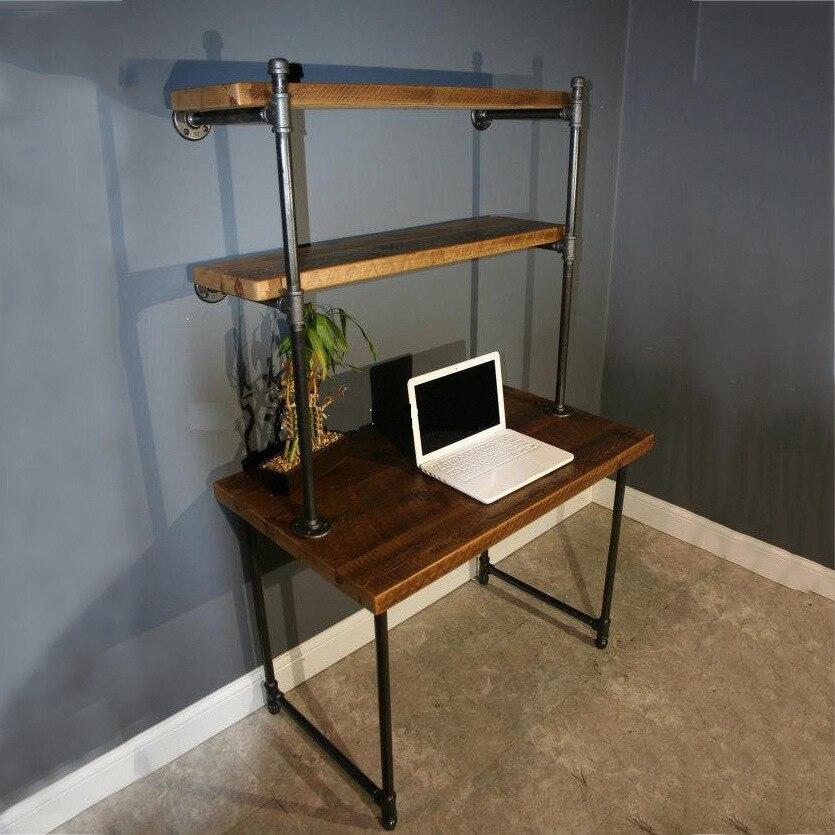 Ijzeren buizen houten bureau mode creatieve retro for Kantoor in woonkamer