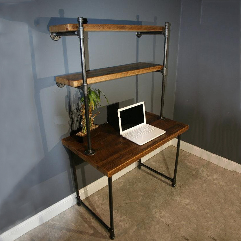 Iron Pipes Wood Desk Fashion Creative Retro Living Room Bedroom Office Bookshelf Piece Computer In Coat Racks From Furniture On Aliexpress